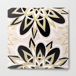 Modern black gold pink abstract floral pattern Metal Print