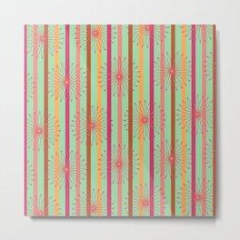 Summer Stripe with Multi Floral Print Metal Print