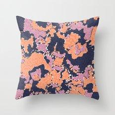 Cartografía de Orquídea (on blue) Throw Pillow