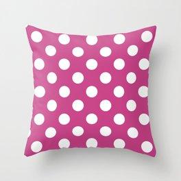 Smitten - violet - White Polka Dots - Pois Pattern Throw Pillow