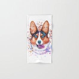 Corgi blue eyes portrait Hand & Bath Towel