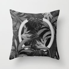 White Circle in Black Forest Throw Pillow