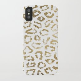 Modern white chic faux gold foil leopard print iPhone Case