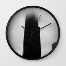 Sears Tower in Fog Chicago Black and White Photo Wall Clock