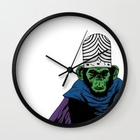 jojo Wall Clocks featuring Mojo Jojo by Miguel Villasanta