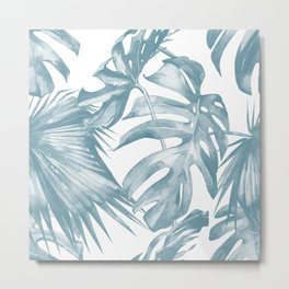 Island Dream Teal Blue Leaves Metal Print
