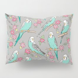 Budgie Birds With Blossom Flowers on Grey Pillow Sham