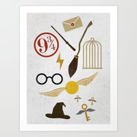 potter Art Prints featuring Minimalist Potter by Luis Urrutia