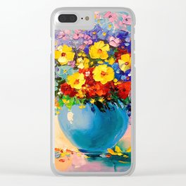 A bouquet of flowers in a vase Clear iPhone Case