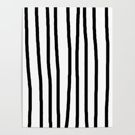 Simply Drawn Vertical Stripes in Midnight Black Poster