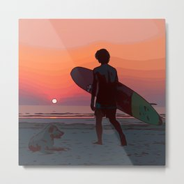 Surf dude with dog at the sea by sunset Metal Print