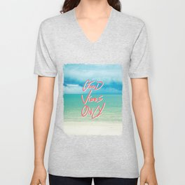 """""""Good Vibes Only""""  Quote - Turquoise Tropical Sandy Beach Unisex V-Neck"""