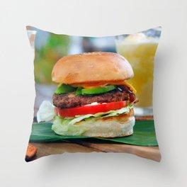 Gourmet Burger and Smoothies  Throw Pillow
