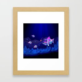Anglerfish, lie and bioluminescence Framed Art Print