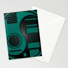 Teal Blue and Black Acoustic Electric Yin Yang Guitars Stationery Cards