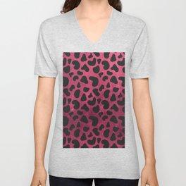 Modern black burgundy red gradient animal print Unisex V-Neck
