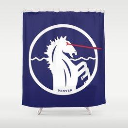 Denver Laser Bronco Shower Curtain