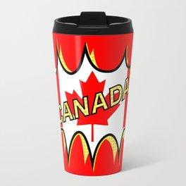 Canadian Flag Comic Style Starburst Travel Mug