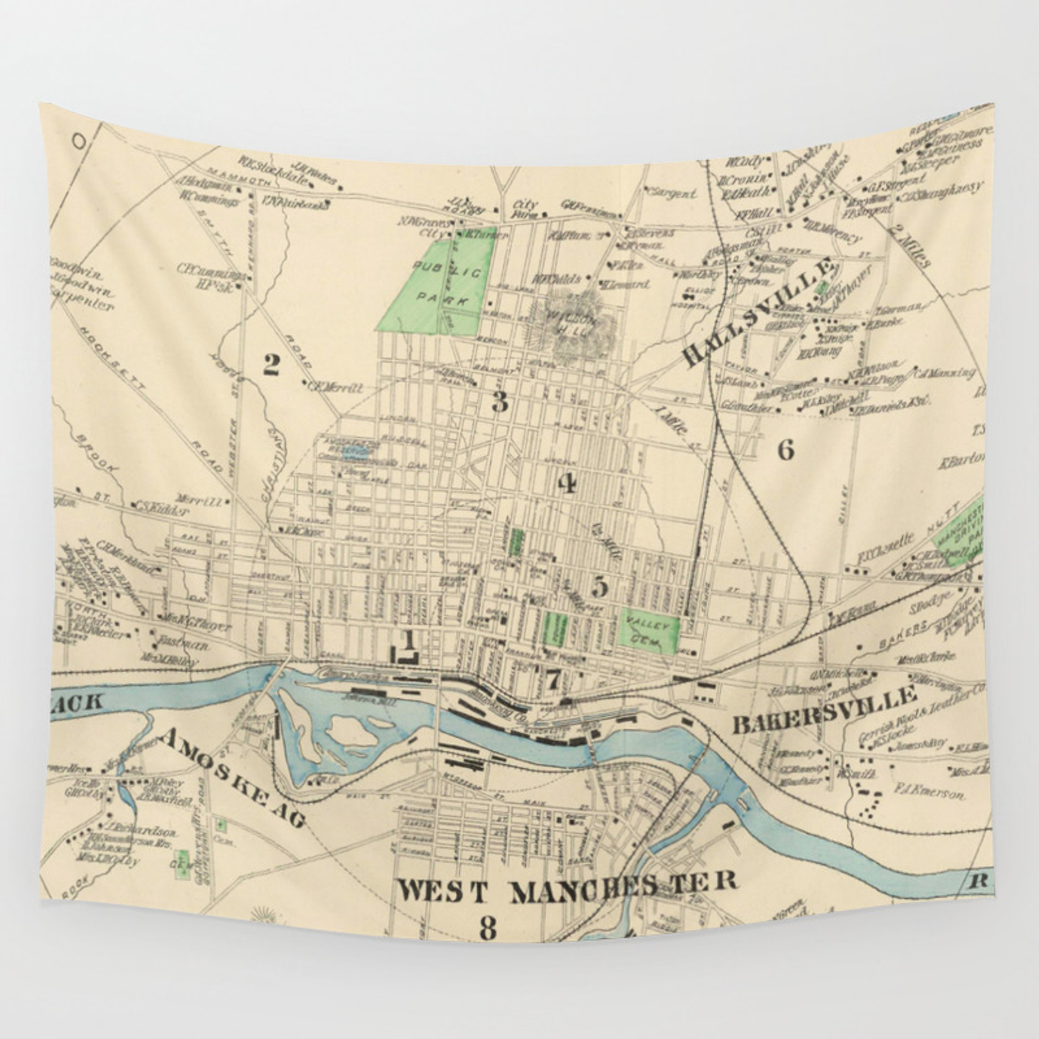 Vintage Map of Manchester NH (1892) Wall Tapestry on