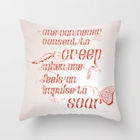 helen green Throw Pillows featuring Soar - Illustrated quote of Helen Keller by VonFires (Adele van Vuuren)