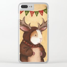 Ferdie the Christmas Reindeer Guinea Pig Clear iPhone Case