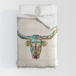 Colorful Longhorn Art By Sharon Cummings Comforters