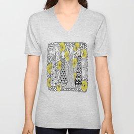 Zentangle Girls - Black and White Illustration Unisex V-Neck