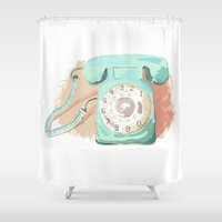 telephone Shower Curtains featuring Telephone by Paint Your Idea