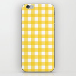 White & Yellow Gingham Pattern iPhone Skin