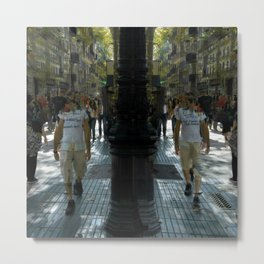 A man and his time displaced mirror image walking. Metal Print