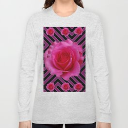 FUCHSIA PINK ROSES ON PUCE-BLACK GRAPHIC Long Sleeve T-shirt