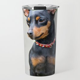 Outdoor portrait of a miniature pinscher dog Travel Mug