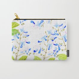 blue butterfly flowers arrangement watercolor Carry-All Pouch