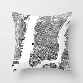 New York City Map United States White and Black Rubbing Throw Pillow