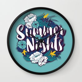 Summer nights typography banner round design in tropical flower frame 001 Wall Clock