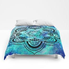 Galaxy Mandala Aqua Indigo Comforters