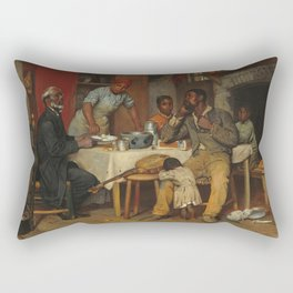 A Pastoral Visit, by Richard Norris Brooke, 1881 . An African American family Rectangular Pillow