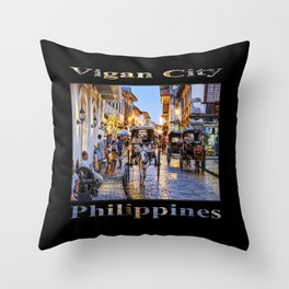 Rush Hour in Vigan City (on black) Throw Pillow