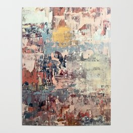Mirage [1]: a vibrant abstract piece in pinks blues and gold by Alyssa Hamilton Art Poster