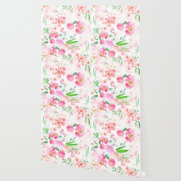 pink flowers and green leaf pattern  Wallpaper