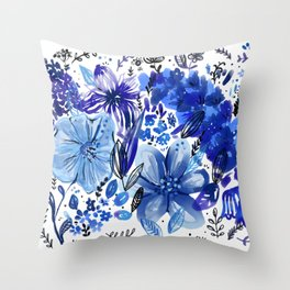 Blue flowers galore Throw Pillow