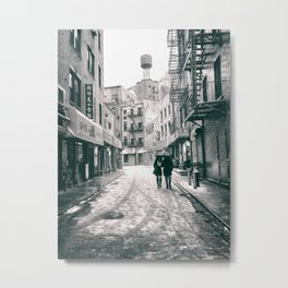 New York City - Snowy Afternoon - Chinatown Metal Print