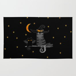 Magic Whitch cat in a hat and her black cat-bat for Halloween Rug
