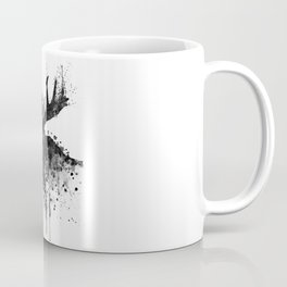 Black and White Moose Head Watercolor Silhouette Coffee Mug
