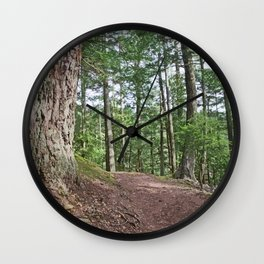 WOODED PATHWAY BY THE LAKE Wall Clock
