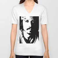 johnny depp V-neck T-shirts featuring Johnny Depp by Jeanique van den Berg