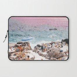 Beach Day, Travel Photography Digital Wall Decor, Tropical Beach Island Collage Laptop Sleeve