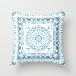 In Blue (Pattern Mandala) Throw Pillow