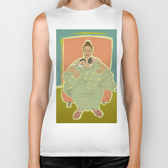 Mother with Twins Biker Tank