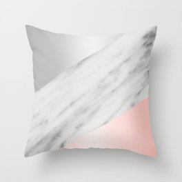 Pink Grey and Marble Collage Throw Pillow